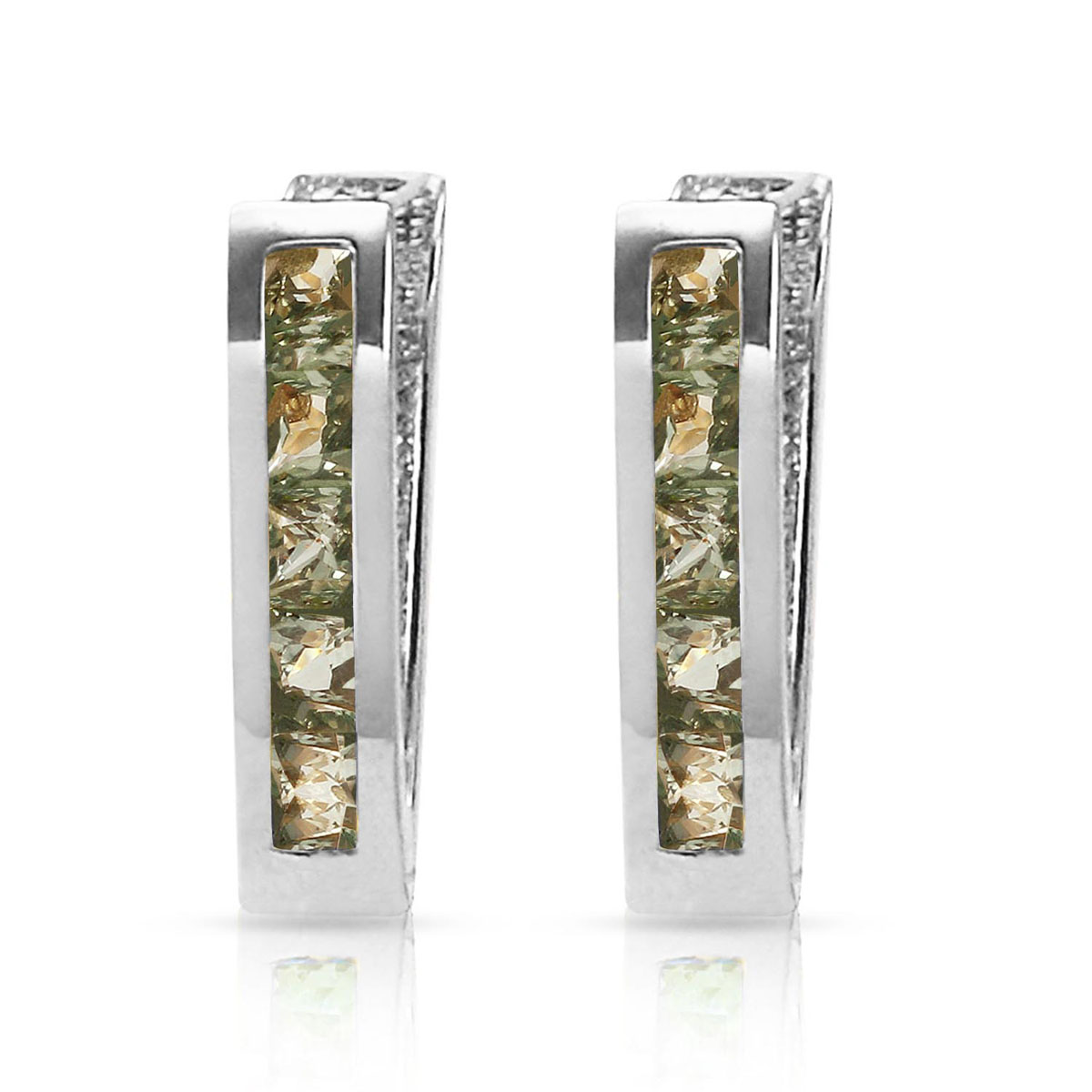 Sapphire Acute Huggie Earrings 1.3 ctw in 9ct White Gold