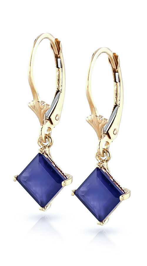 Sapphire Alexandra Drop Earrings 2.9 ctw in 9ct Gold