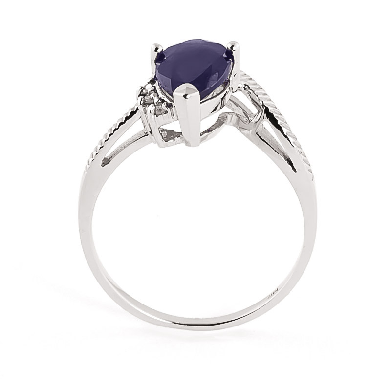 Sapphire & Diamond Belle Ring in Sterling Silver