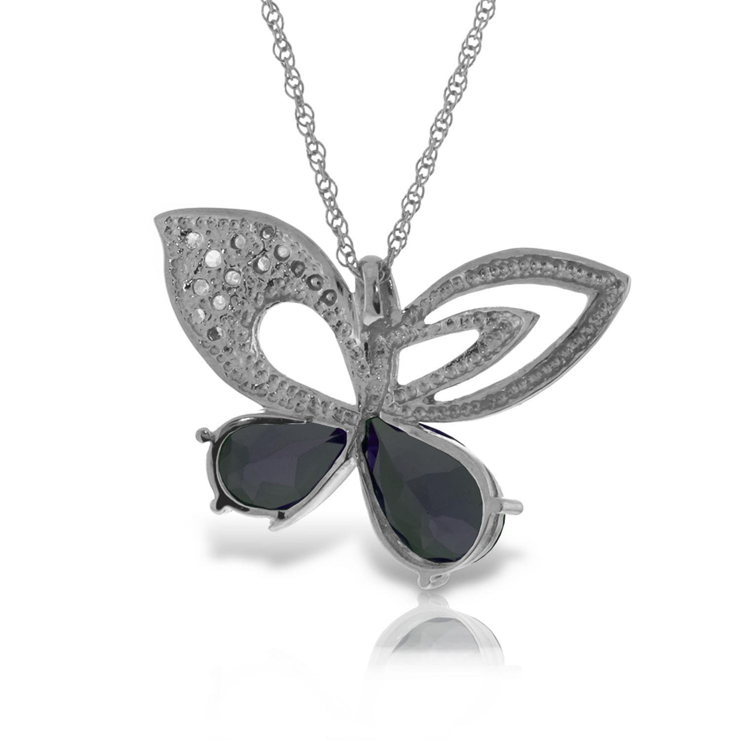 Sapphire & Diamond Butterfly Pendant Necklace in 9ct White Gold