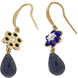 Sapphire & Diamond Daisy Chain Drop Earrings in 9ct Gold