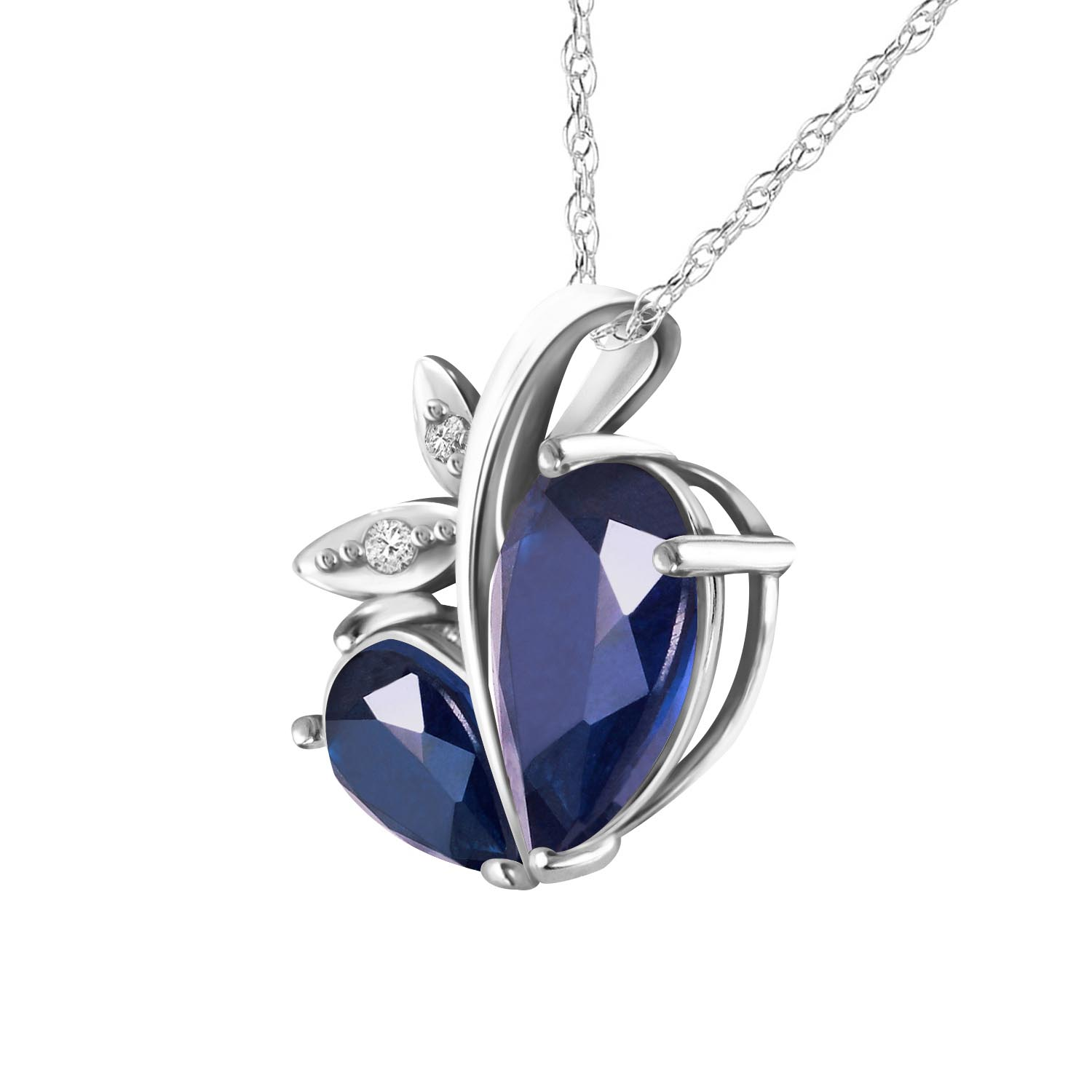 Sapphire & Diamond Eternal Pendant Necklace in 9ct White Gold