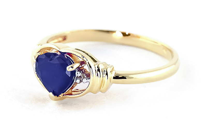 Sapphire & Diamond Halo Heart Ring in 9ct Gold