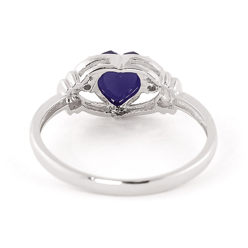 Sapphire & Diamond Halo Heart Ring in Sterling Silver