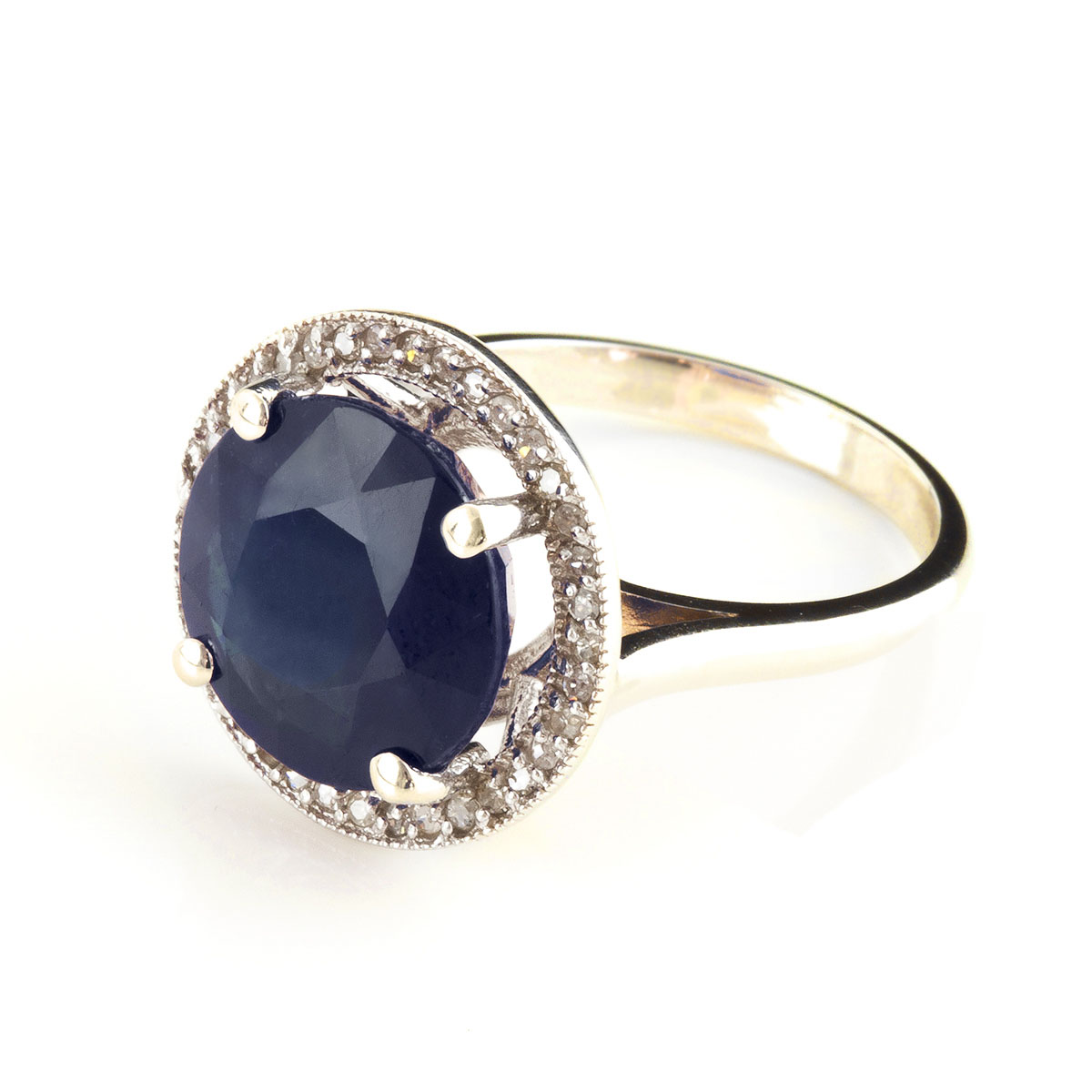 Sapphire & Diamond Halo Ring in 9ct Gold