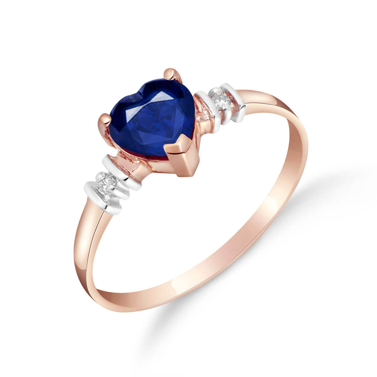 Sapphire & Diamond Heart Ring in 9ct Rose Gold