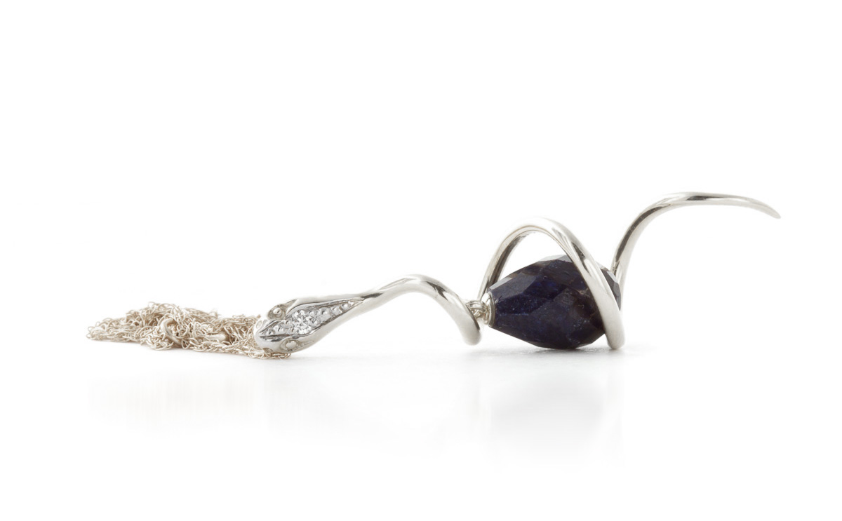 Sapphire & Diamond Serpent Pendant Necklace in 9ct White Gold