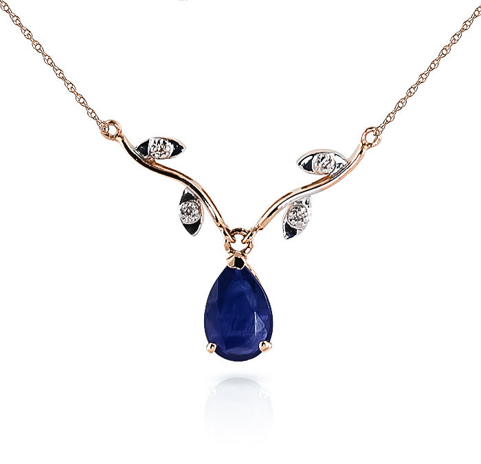 Sapphire & Diamond Vine Branch Pendant Necklace in 9ct Rose Gold