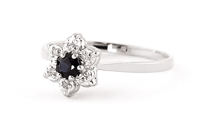 Sapphire & Diamond Wildflower Cluster Ring in 9ct White Gold