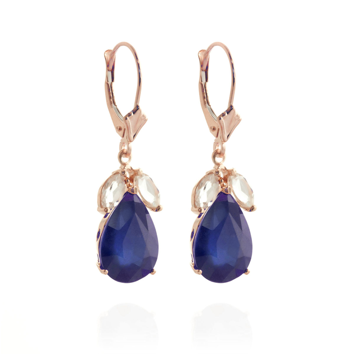 Sapphire & White Topaz Drop Earrings in 9ct Rose Gold