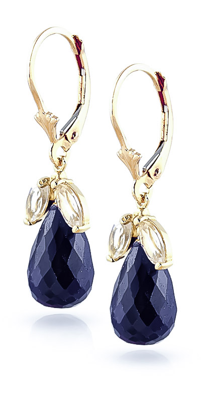 Sapphire & White Topaz Snowdrop Earrings in 9ct Gold