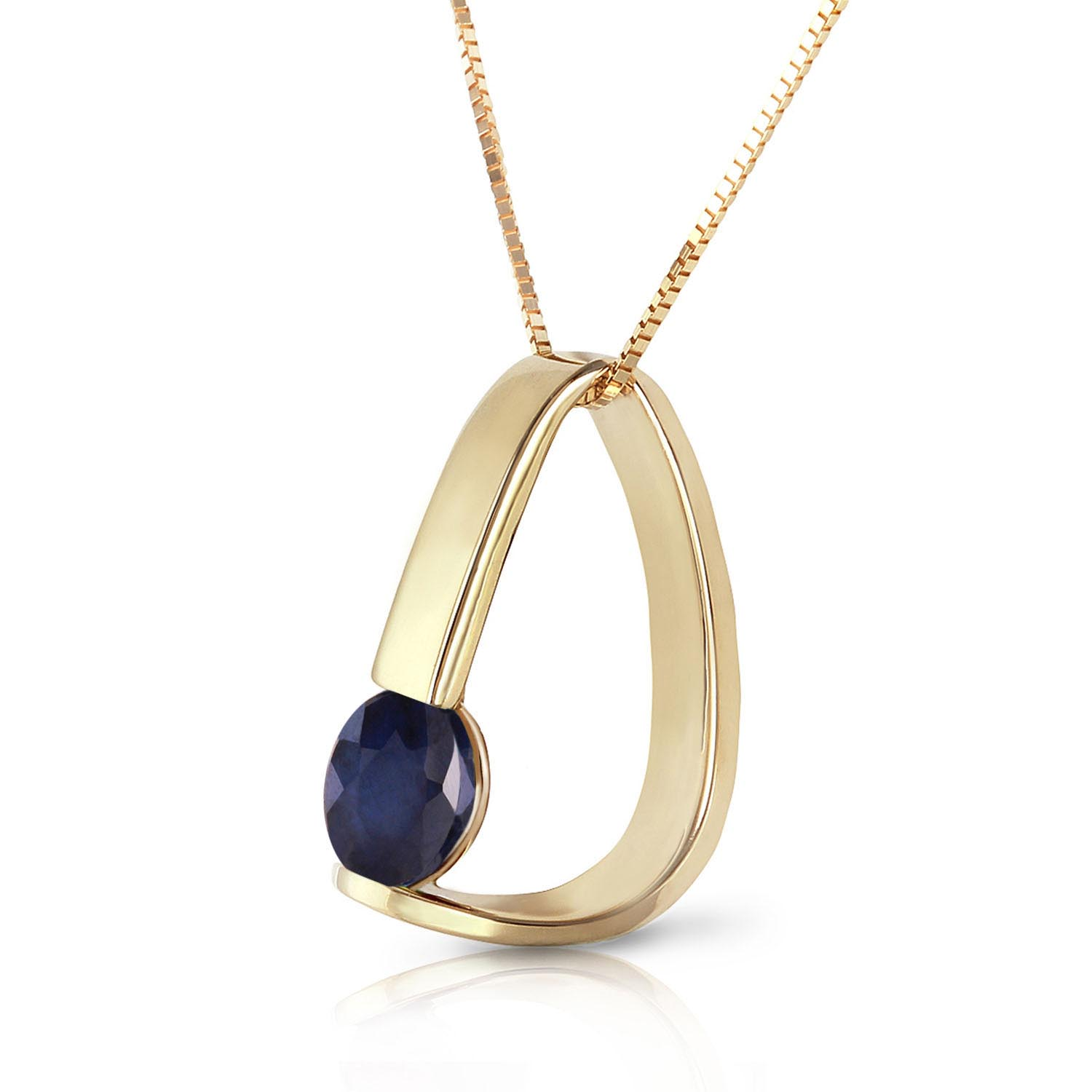 Sapphire Arc Pendant Necklace 1.5 ct in 9ct Gold