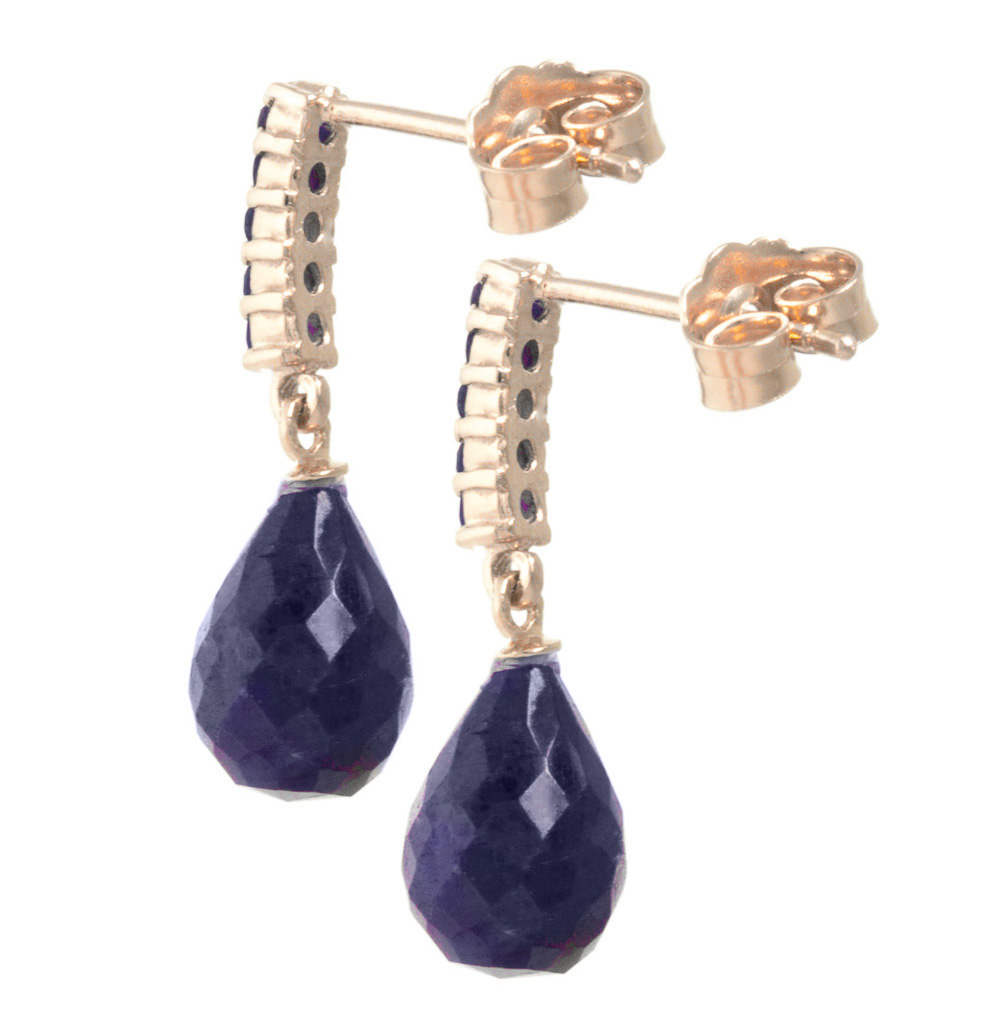 Sapphire Briolette Stud Earrings 7 ctw in 9ct Rose Gold