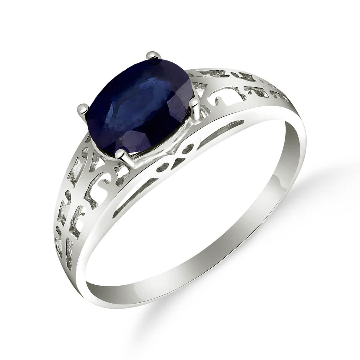 Sapphire Catalan Filigree Ring 1.15 ct in 9ct White Gold