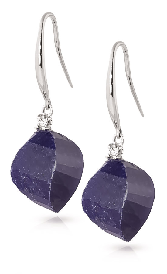 Sapphire Drop Earrings 30.6 ctw in 9ct White Gold