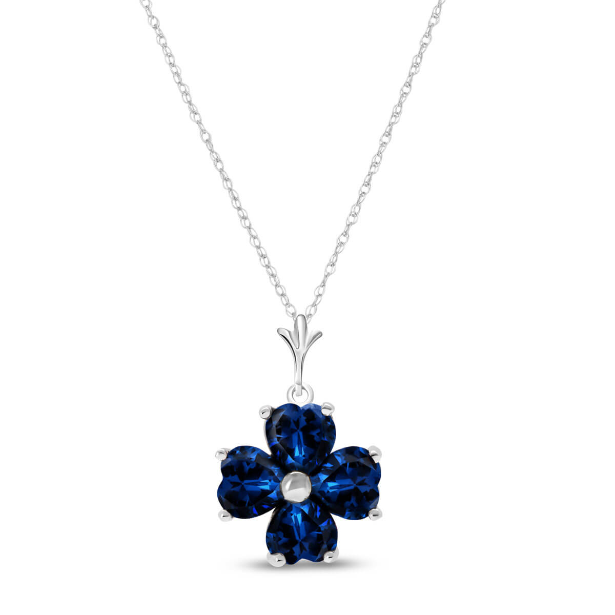 Sapphire Four Leaf Clover Pendant Necklace 3.6 ctw in 9ct White Gold