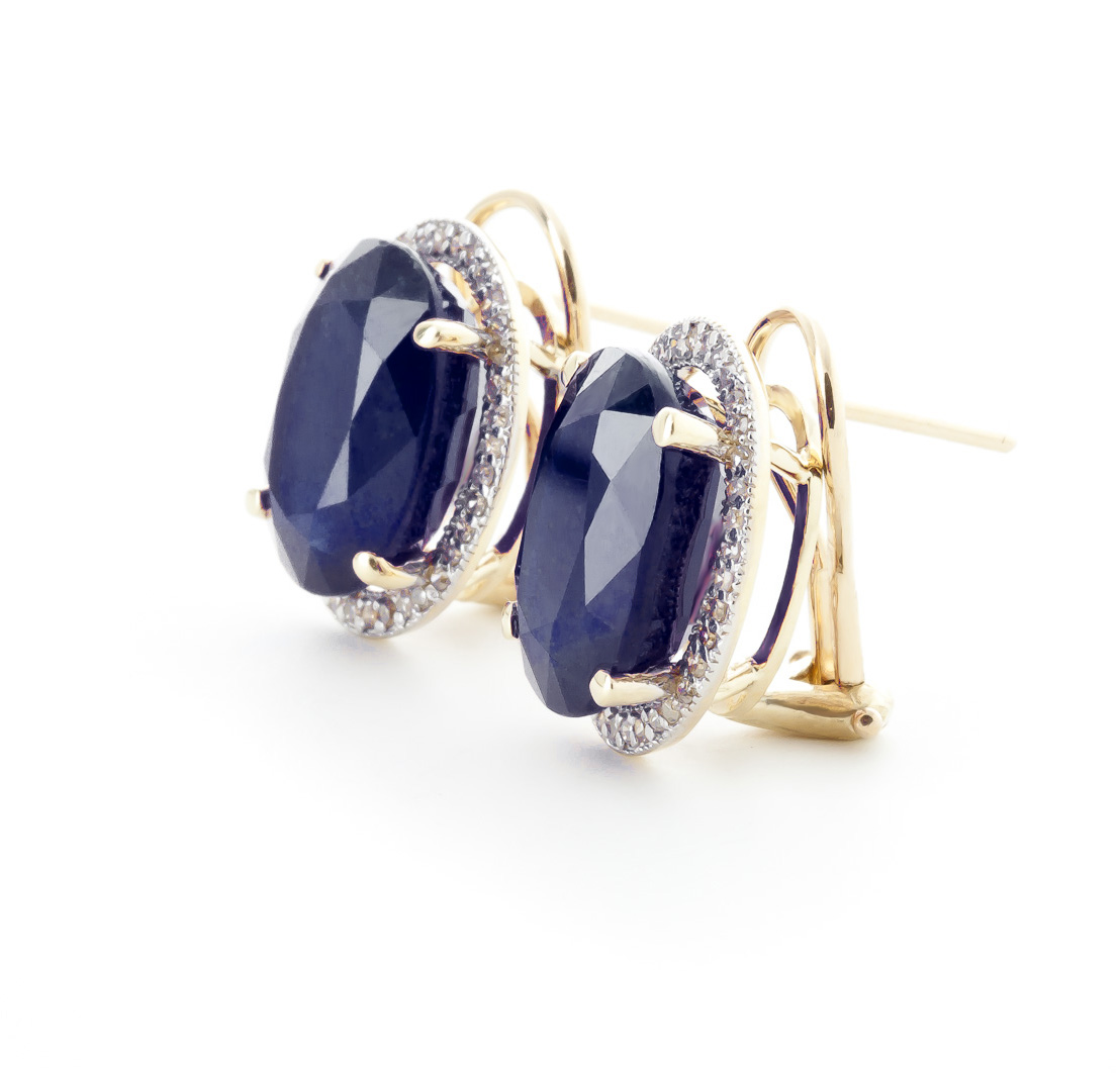 Sapphire French Clip Halo Earrings 13.16 ctw in 9ct Gold