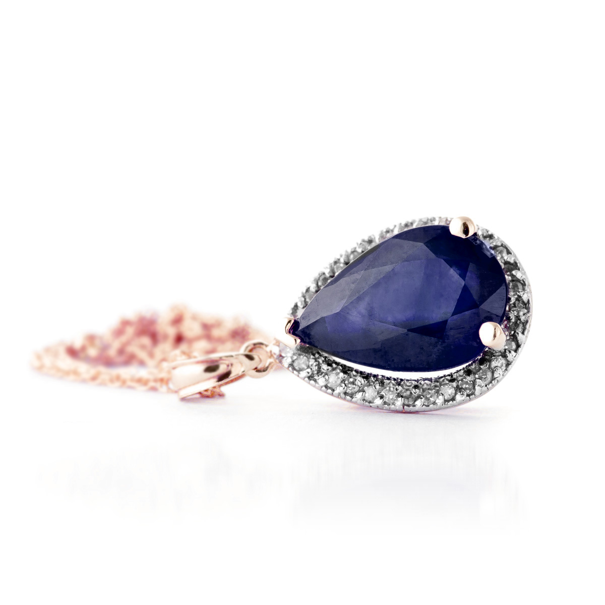 Sapphire Halo Pendant Necklace 5.26 ctw in 9ct Rose Gold