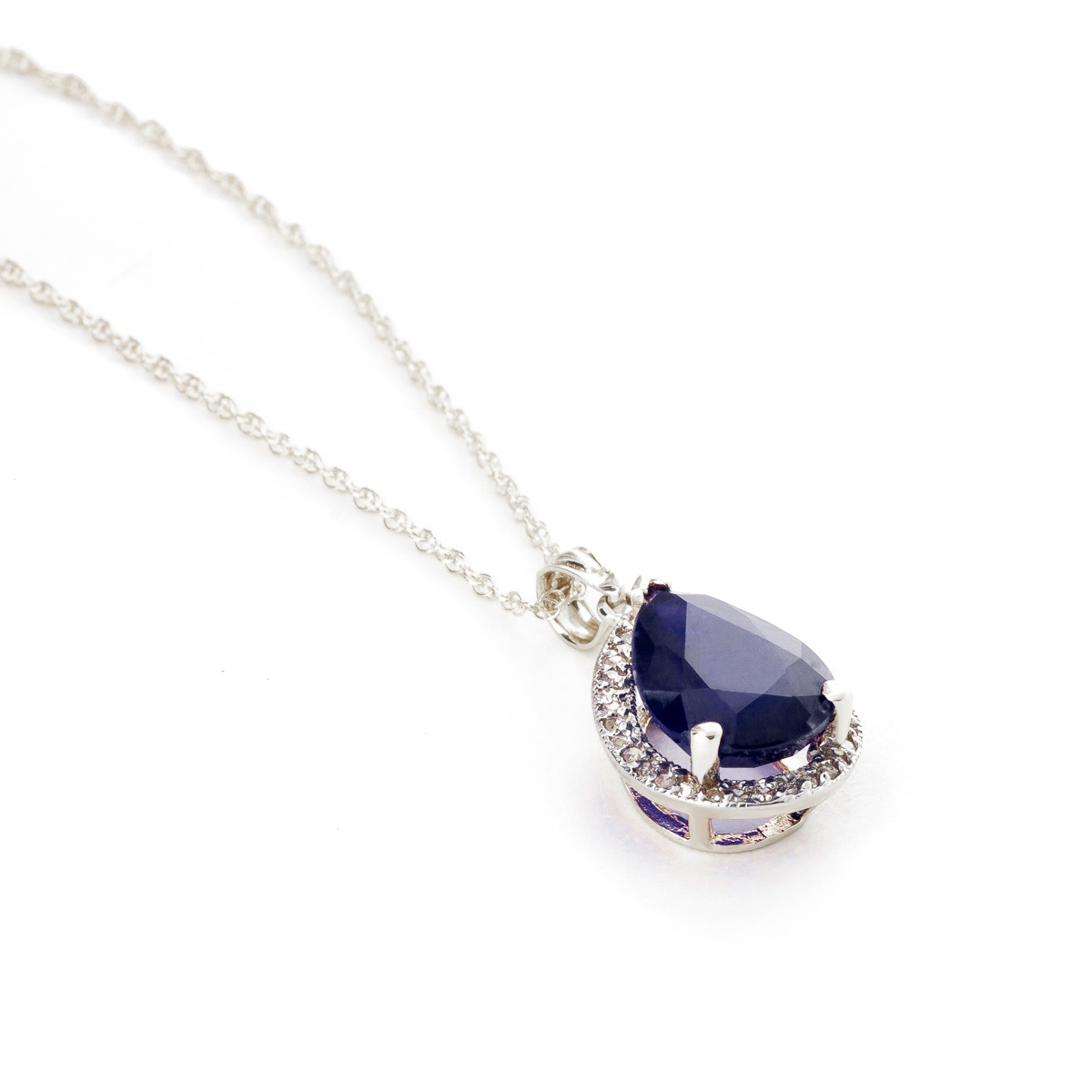 Sapphire Halo Pendant Necklace 5.26 ctw in 9ct White Gold