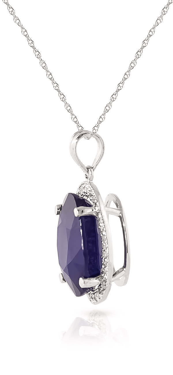 Sapphire Halo Pendant Necklace 6.58 ctw in 9ct White Gold