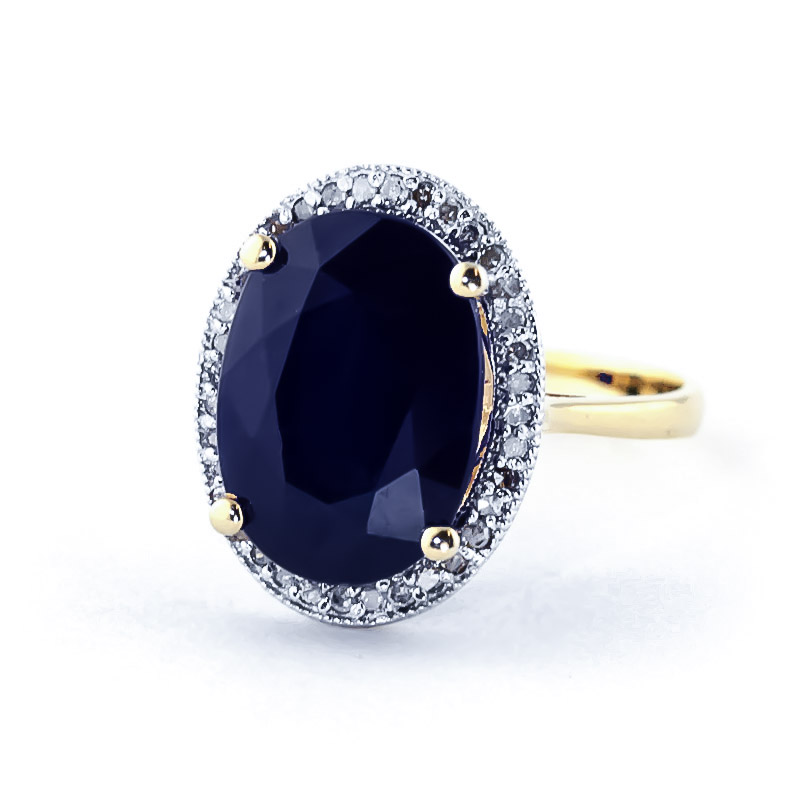 Sapphire Halo Ring 6.58 ctw in 9ct Gold