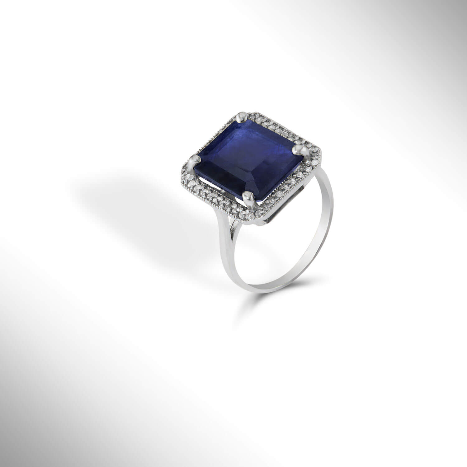 Sapphire Halo Ring 6.6 ctw in 9ct White Gold