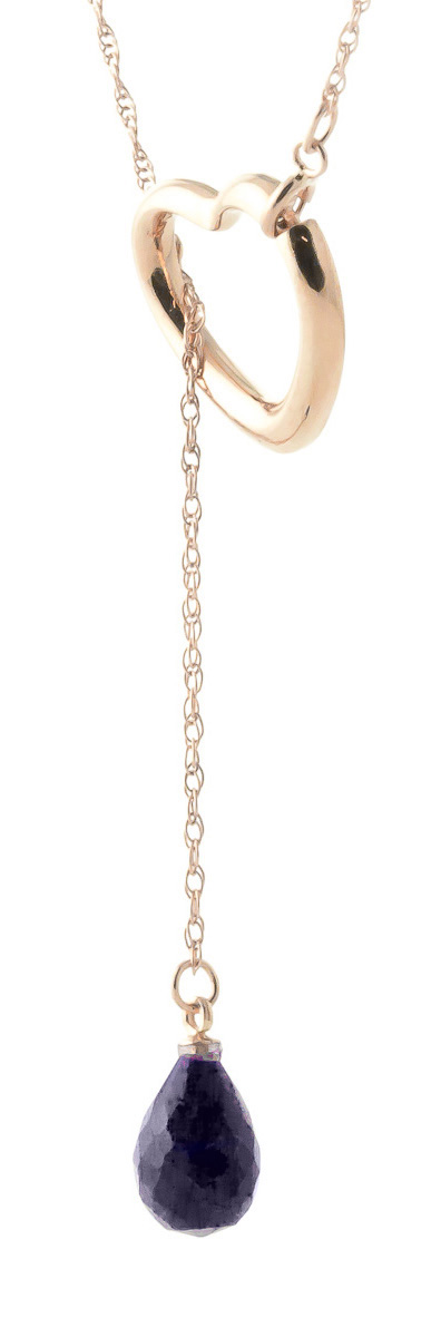 Sapphire Heart Drop Pendant Necklace 3.3 ct in 9ct Rose Gold