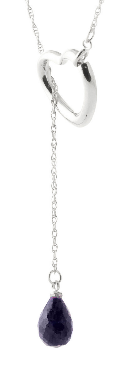 Sapphire Heart Drop Pendant Necklace 3.3 ct in 9ct White Gold