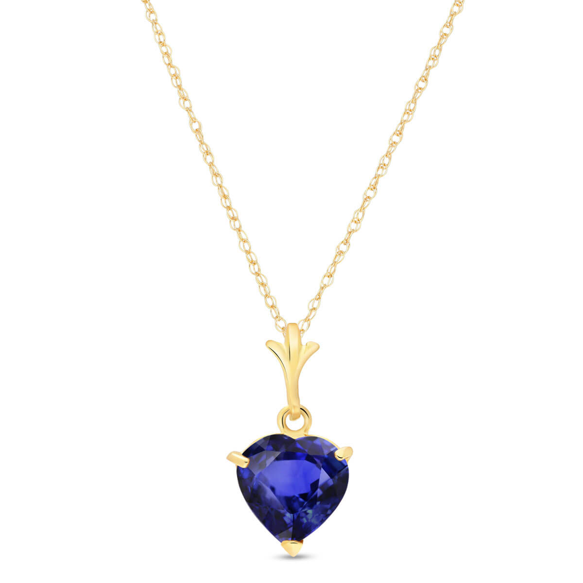 Sapphire Heart Pendant Necklace 1.55 ct in 9ct Gold