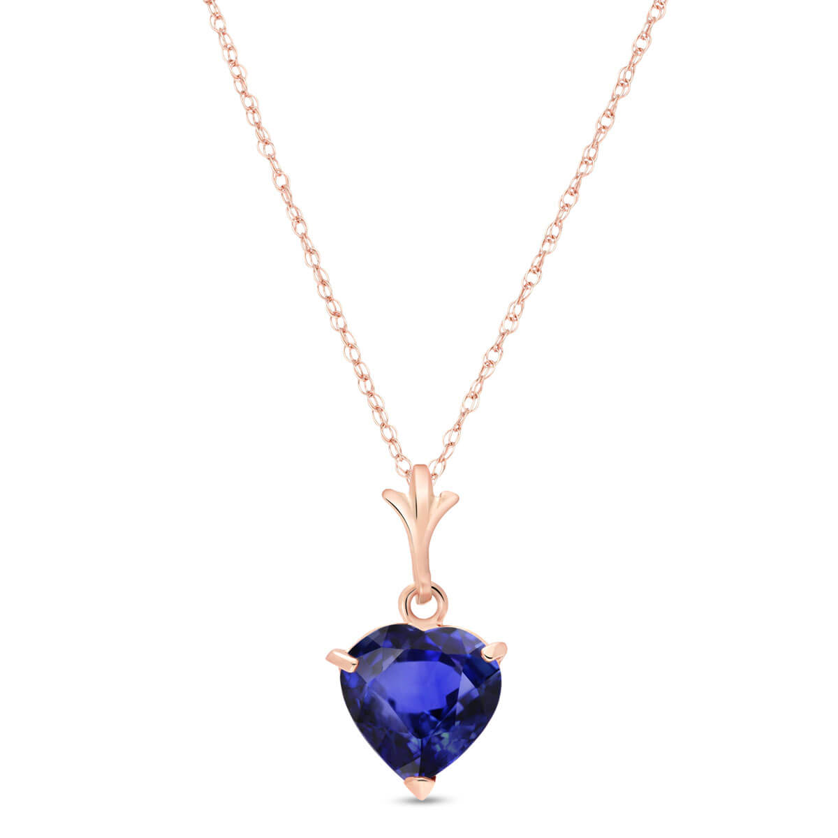 Sapphire Heart Pendant Necklace 1.55 ct in 9ct Rose Gold