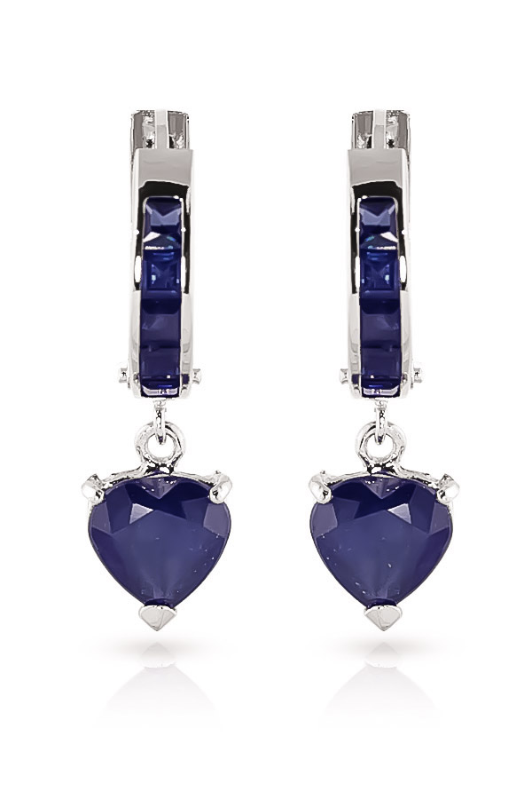 Sapphire Huggie Earrings 0.85 ctw in 9ct White Gold