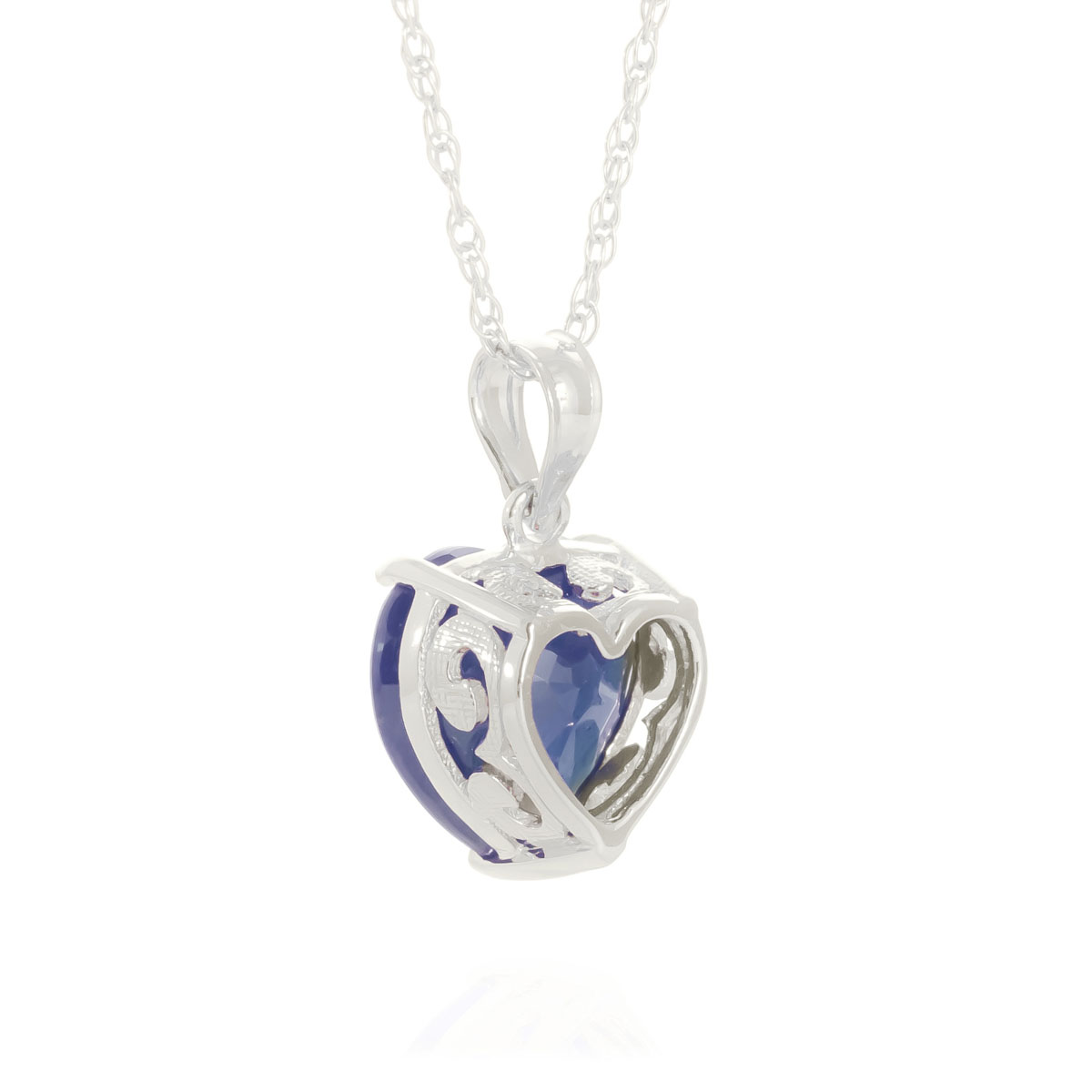 Sapphire large heart pendant necklace 43 ct in 9ct white gold sapphire large heart pendant necklace 43 ct in 9ct white gold mozeypictures Gallery