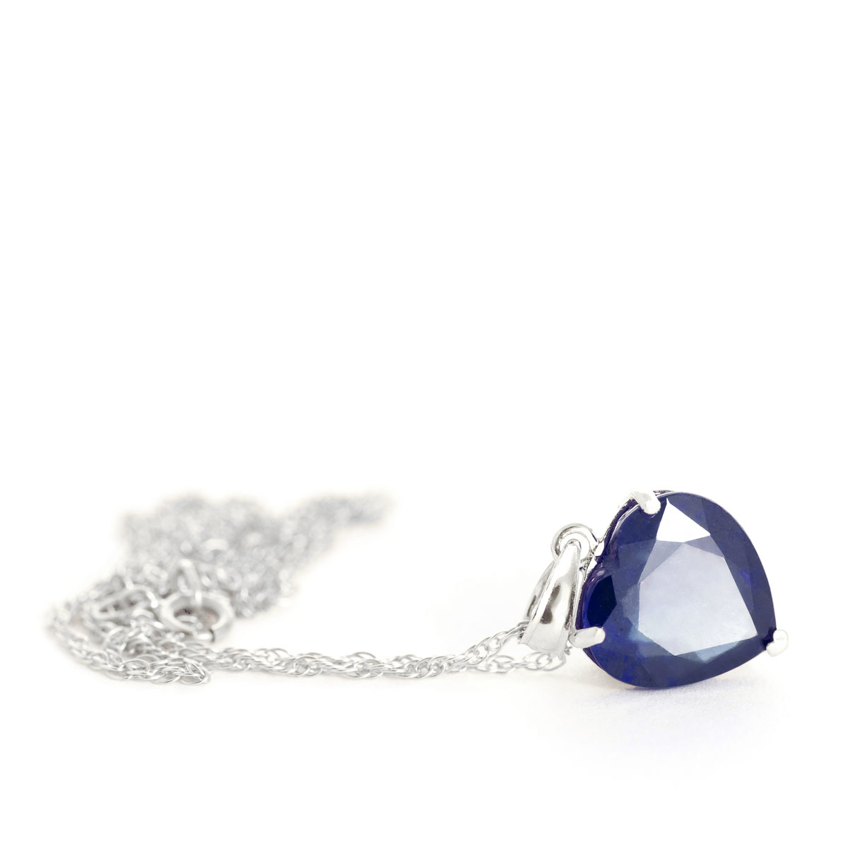 Sapphire Large Heart Pendant Necklace 4.3 ct in 9ct White Gold