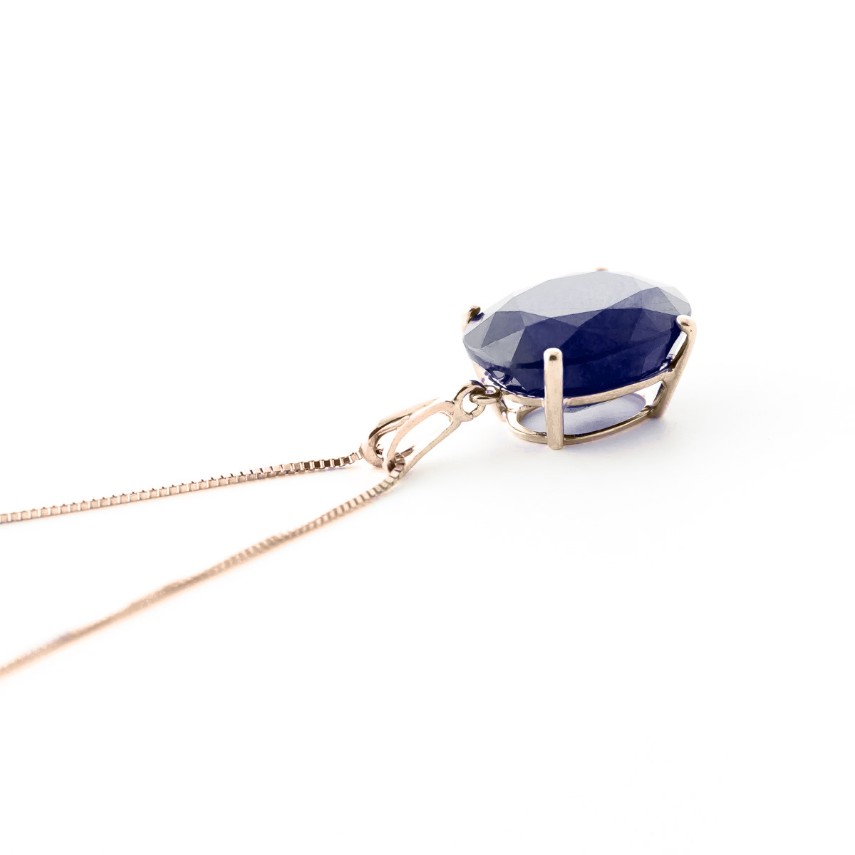 Sapphire Oval Pendant Necklace 8.5 ct in 9ct Rose Gold