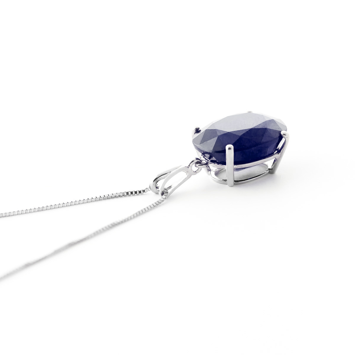 Sapphire Oval Pendant Necklace 8.5 ct in 9ct White Gold