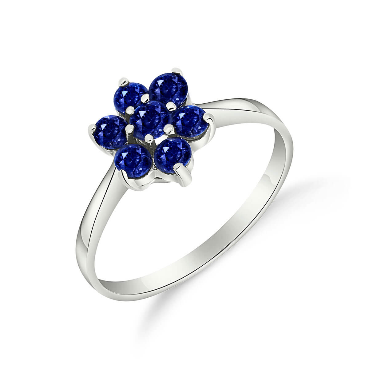 Sapphire Wildflower Cluster Ring 0.66 ctw in 9ct White Gold