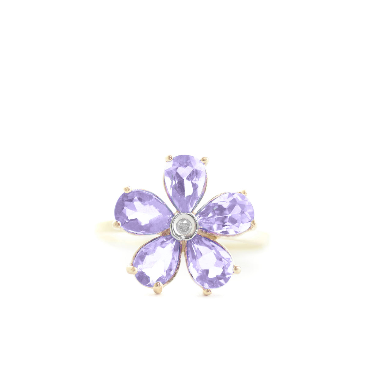 Tanzanite & Diamond Five Petal Ring in 9ct Gold
