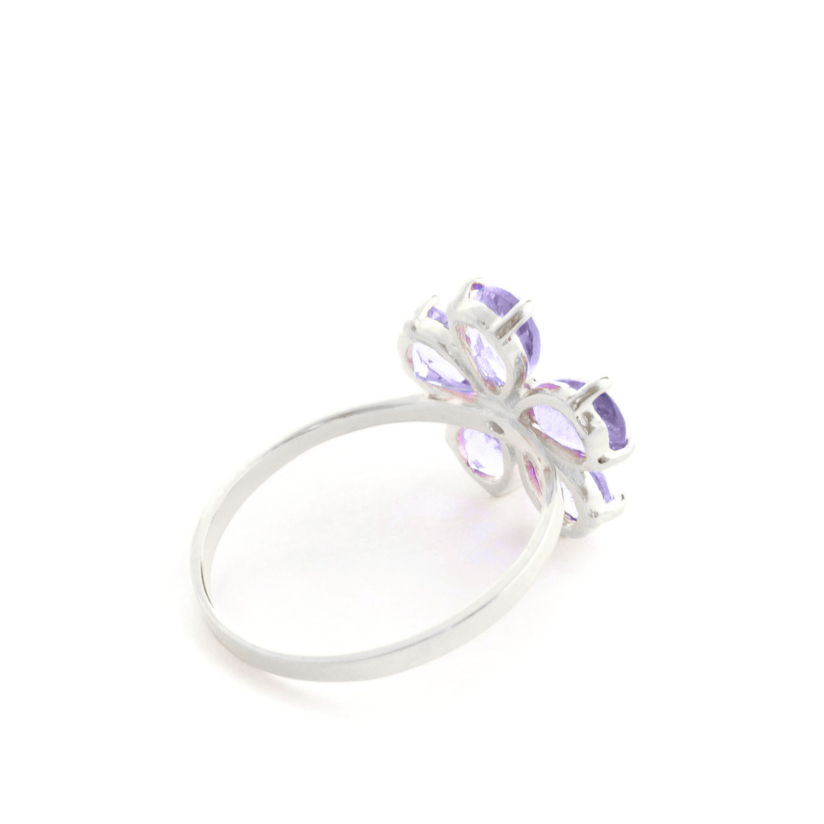 Tanzanite & Diamond Five Petal Ring in 9ct White Gold