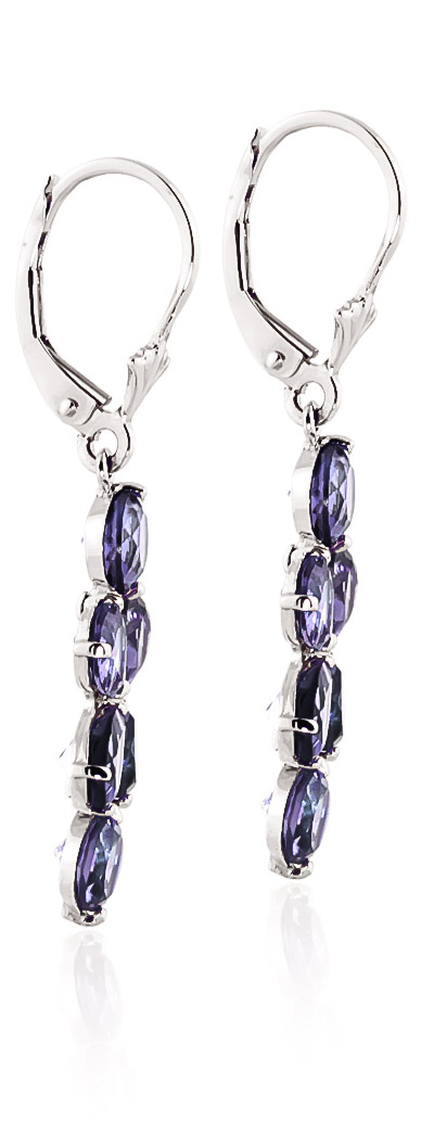 Tanzanite Blossom Drop Earrings 5.32 ctw in 9ct White Gold