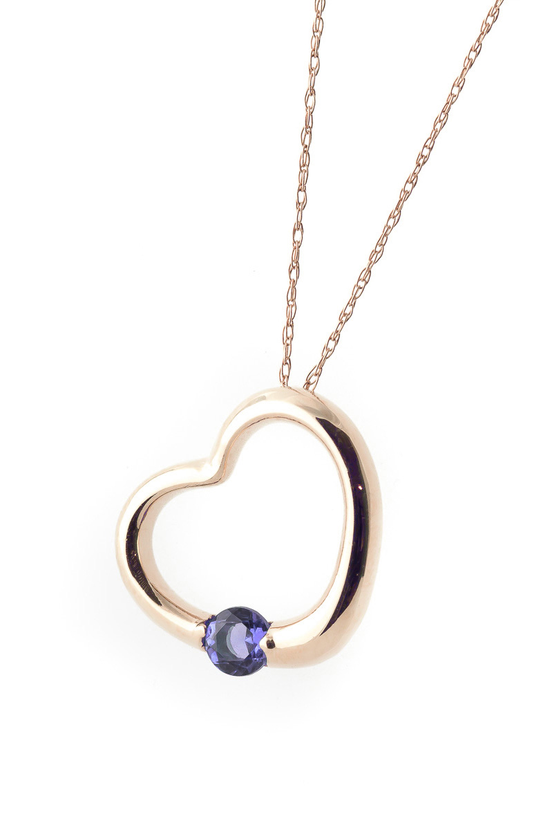 Tanzanite Heart Pendant Necklace 0.25 ct in 9ct Rose Gold