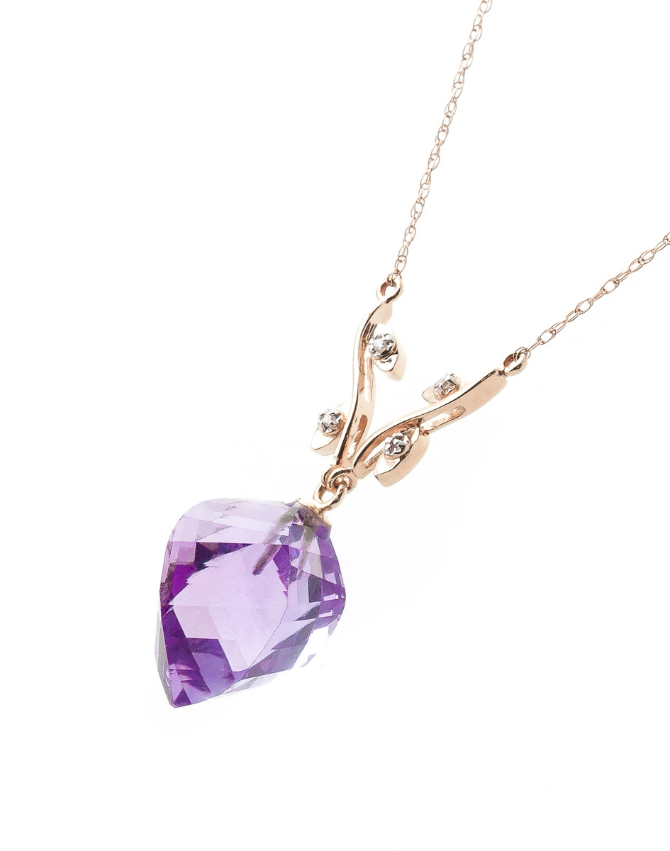 Twisted Briolette Cut Amethyst Pendant Necklace 10.77 ctw in 9ct Rose Gold