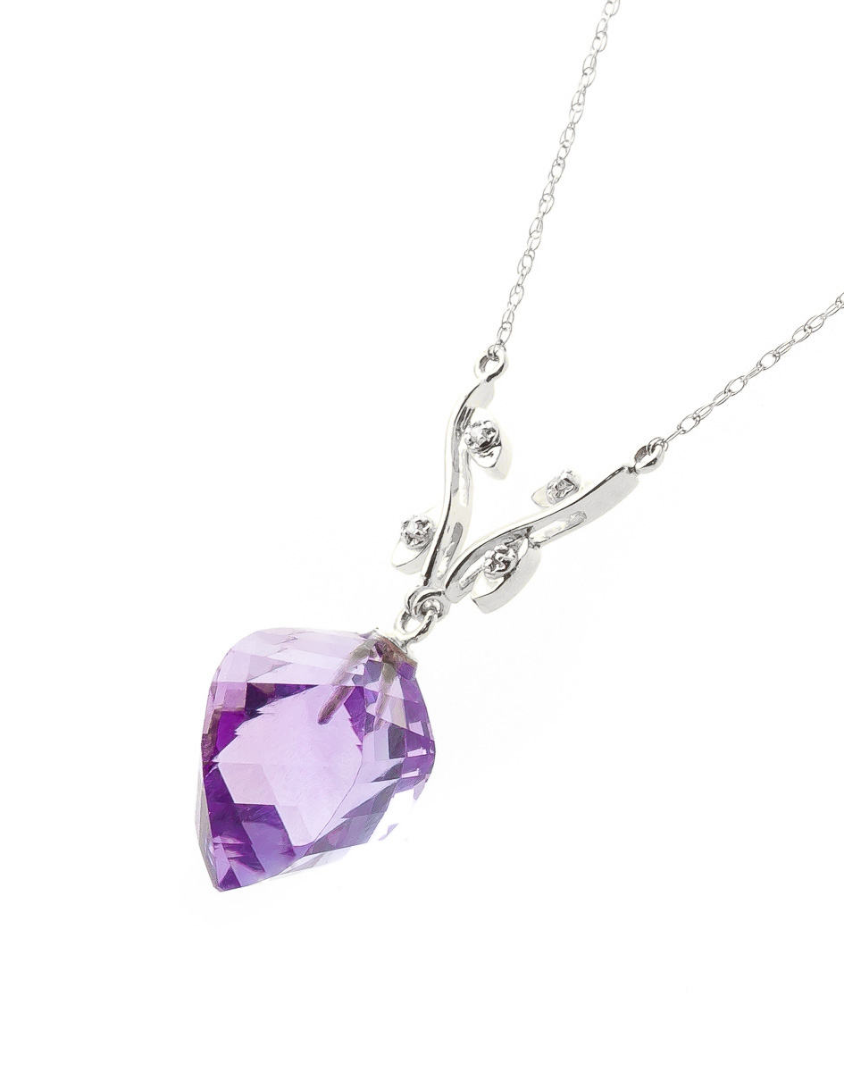 Twisted Briolette Cut Amethyst Pendant Necklace 10.77 ctw in 9ct White Gold