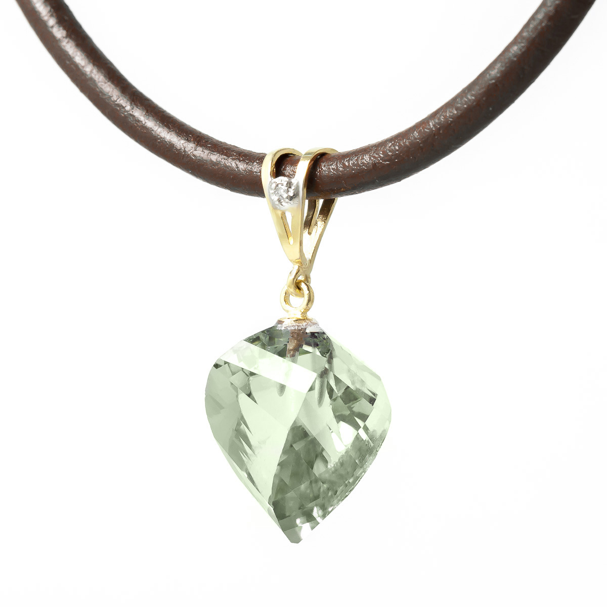 Twisted Briolette Cut Green Amethyst Pendant Necklace 13.01 ctw in 9ct Gold