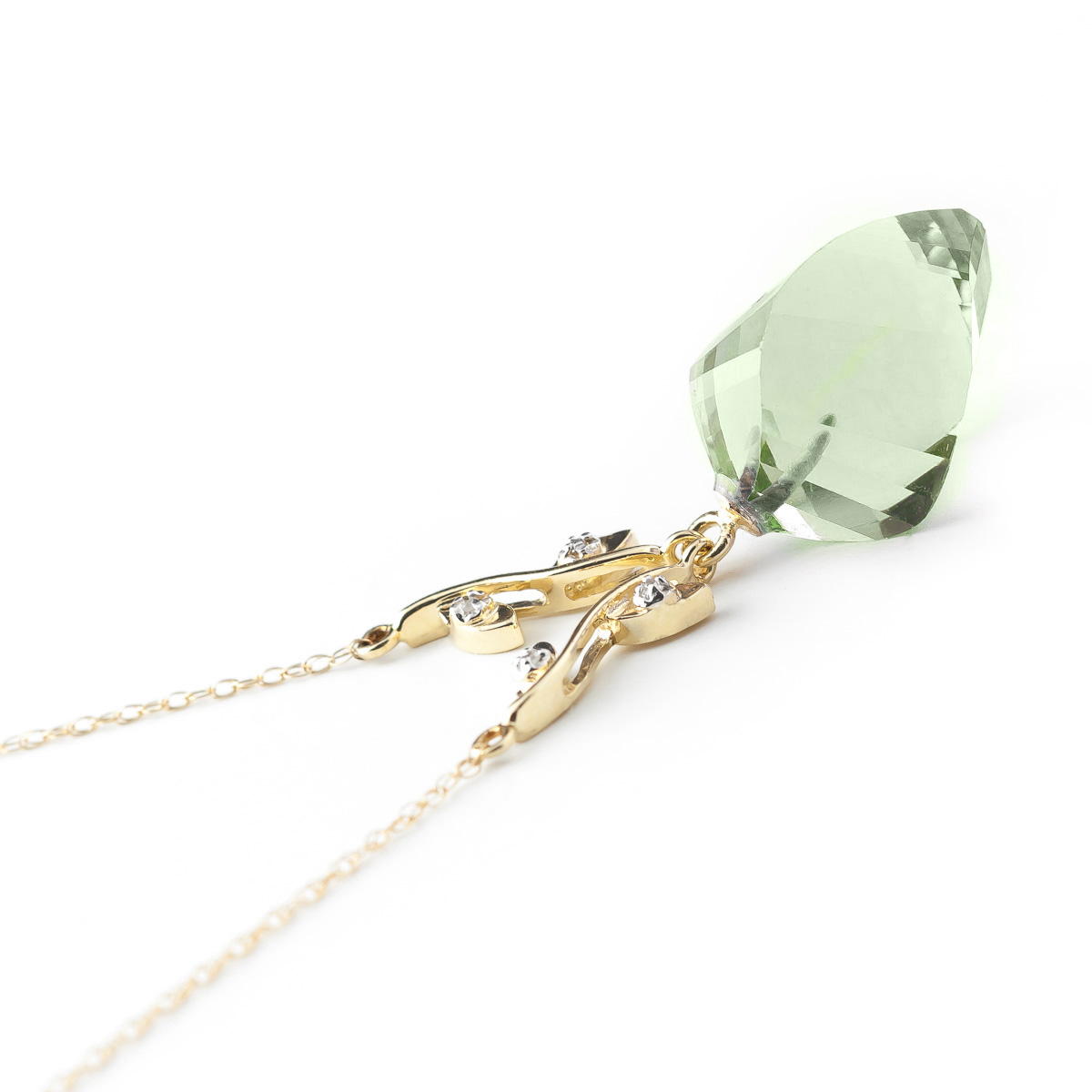 Twisted Briolette Cut Green Amethyst Pendant Necklace 13.02 ctw in 9ct Gold