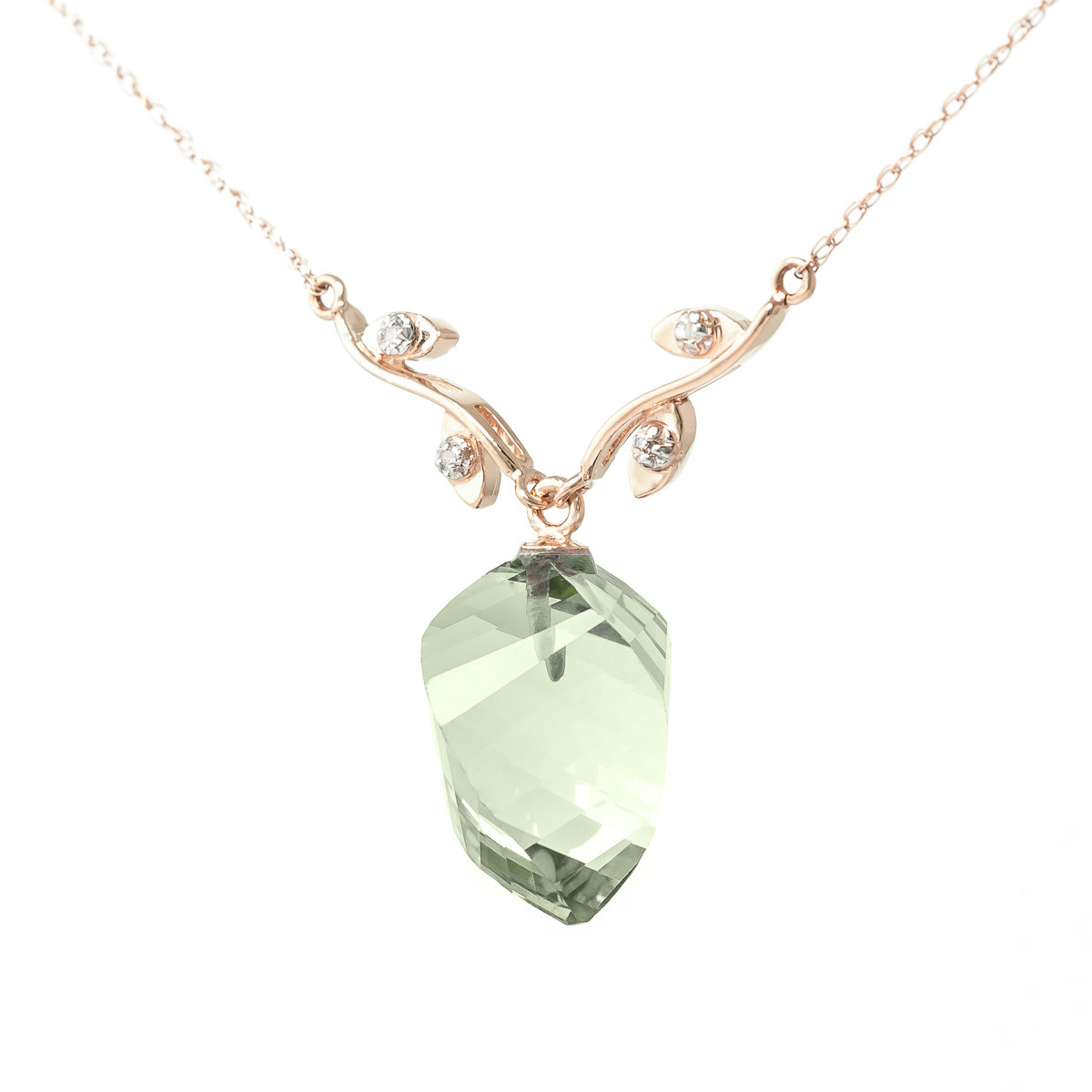 Twisted briolette cut green amethyst pendant necklace 1302 ctw in twisted briolette cut green amethyst pendant necklace 1302 ctw in 9ct rose gold aloadofball Image collections