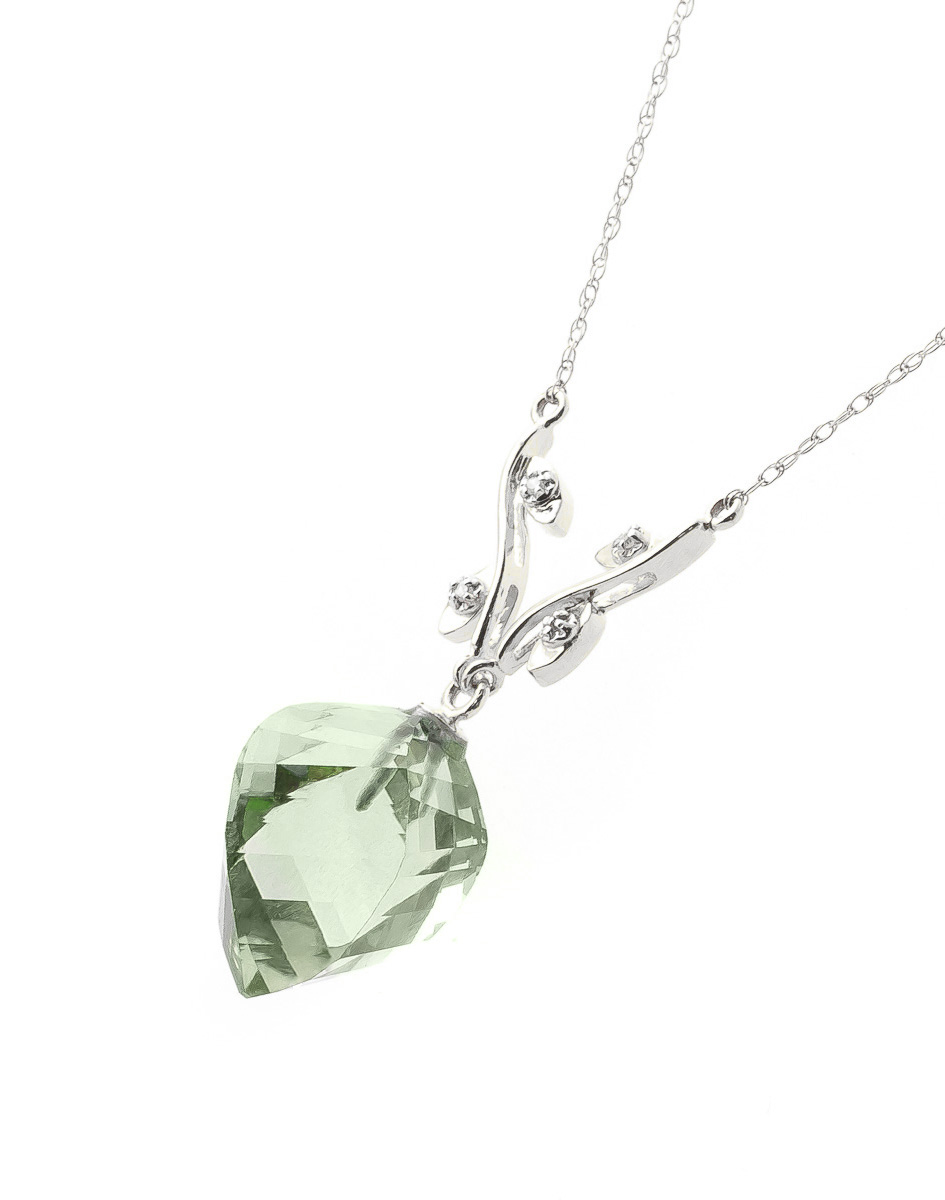 Twisted Briolette Cut Green Amethyst Pendant Necklace 13.02 ctw in 9ct White Gold