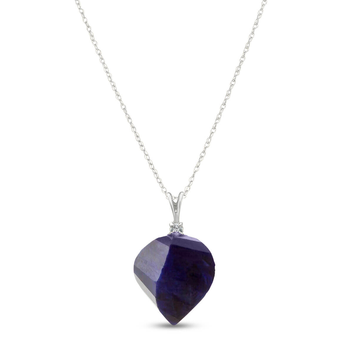 Twisted Briolette Cut Sapphire Pendant Necklace 15.3 ctw in 9ct White Gold