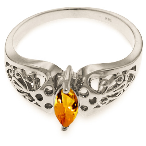 Marquise Cut Citrine Filigree Ring 0.2ct in 9ct White Gold