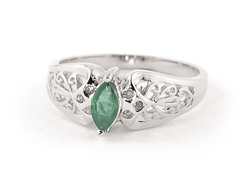 Marquise Cut Emerald Filigree Ring 0.2ct in 9ct White Gold