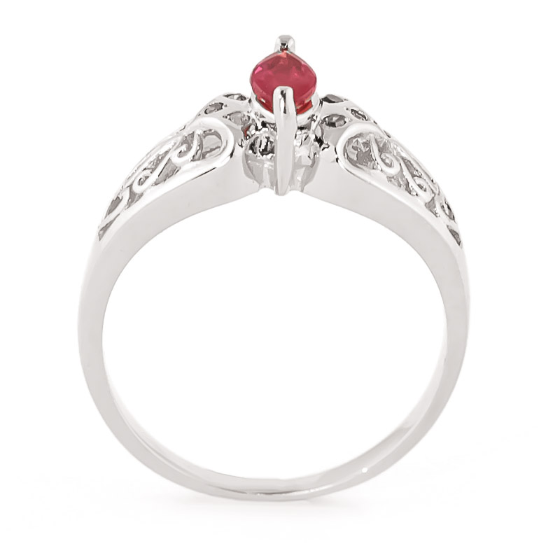 Marquise Cut Ruby Filigree Ring 0.2ct in 9ct White Gold